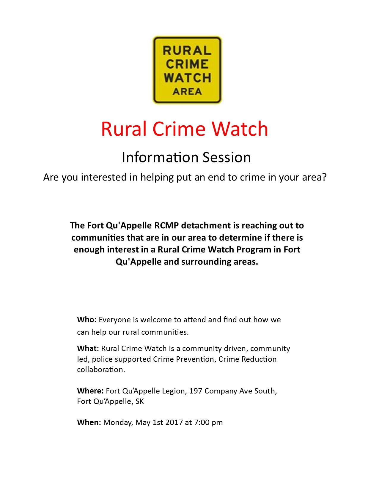 Rural Crime Watch Public Meeting @ Legion Hall @ 7:00 Pm
